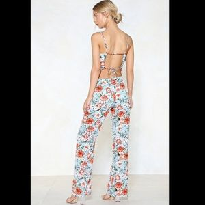 Nasty Gal Pants & Jumpsuits - Nasty Gal floral jumpsuit with cutouts